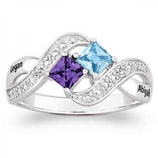 STERLING SILVER COUPLES PRINCESS CUT NAMES BIRTHSTONE DIAMOND RING
