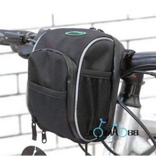 Cycling Bike Bicycle Handlebar Bag Front Basket Black with Rain Cover