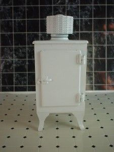 Refrigerator Antique Style Miniature with Top Motor Vintage Ice Box