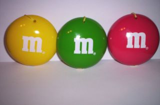 Trio Christmas Ceramic Ornaments Yellow Red Green New in Box