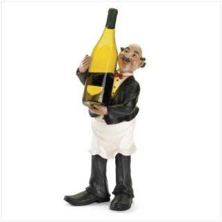 Bistro Fat Chef Butler Waitor Figurine Wine Bottle Holder Kitchen Home