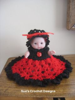 Ladybug Dress Set for The 5 Berenguer Itty Bitty Baby Doll