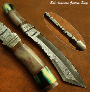 Bill Andersons 1 of A Kind Custom Damascus Bowie Knife Fossil Giraffe