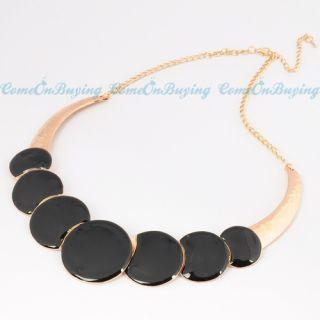 Fashion Golden Chain Black Circles Oil Drop Pendant Necklace