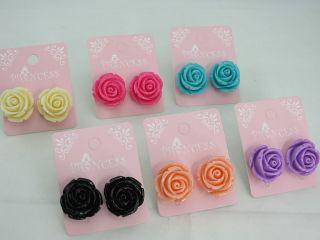Wholesale Lot of 6 Color Big Rose Flower Studs Earrings
