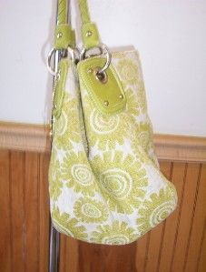BIG BUDDHA HANDBAG SHOULDERBAG PURSE Green Fabric/Leather Medium