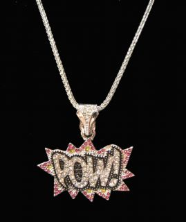 Iced Out Womens Big Sean Kanye West pow Cartoon Pendant Chain Necklace