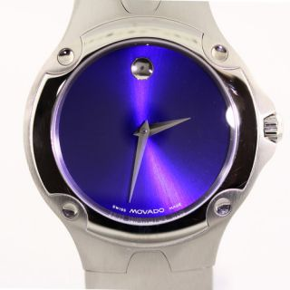 Authentic Movado Mens Stainless Steel Sports Watch Blue Face