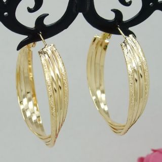 18K Gold Plated 4 Line Circles Large Hoop Earrings Fashion Jewelry