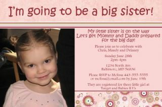 Print Your Own Big Sister Baby Shower Invitations