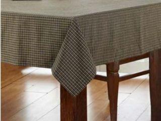 Primitive Country Black Tan Plaid Tablecloth 60 x80 KETTLE GROVE