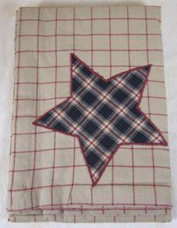 Red Black Tan Windowpane Plaid Bingham Star Cotton Table Cloth 60x60