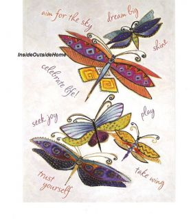 Laurel Burch Card Inspirational Dragonflies Dream Big Celebrate Life