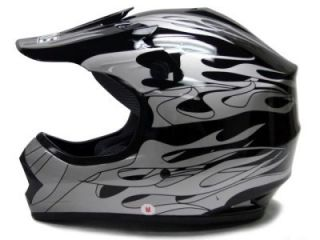 Youth Black Flame Dirt Bike ATV Motocross Helmet MX M