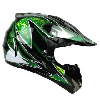 PGR Dragon Black Green Dirt Bike Buggy ATV Off Road B MX MX Dot Helmet