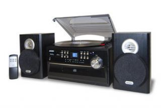 Stereo System Record Player Turntable CD Player Cassette Radio