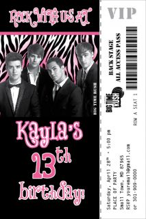 Big Time Rush Zebra Print Invitation Ticket Rock Star Band Birthday
