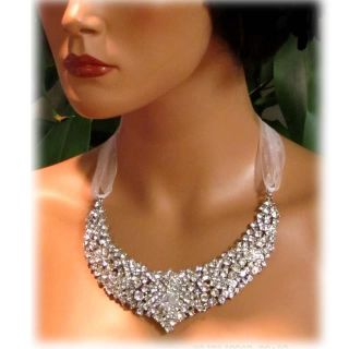 OOAK Handmade Bridal Statement Crystal Swarovski Rhinestone Necklace