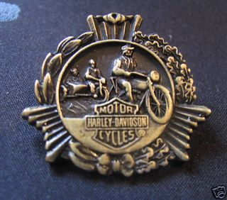 Harley Davidson Motorcycle Brass Old Biker Vest Pin