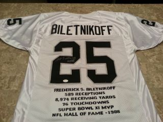 Fred Biletnikoff Autographed / Signed Football Jersey Oakland Raiders