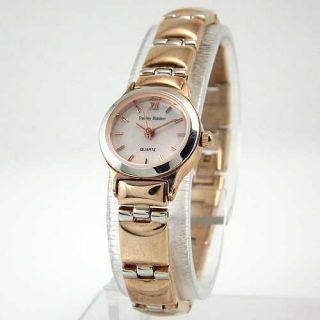 STANLEY BLACKER Silver & Rose Gold Tone Mother of Pearl Dial Bracelet