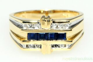 Mens Gold Ring Diamond Sapphire September Birthstone