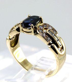Diamond Oval Sapphire 14k Yellow Gold Etruscan Birthstone Ring