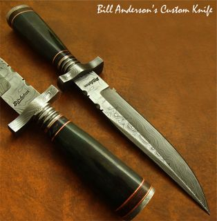 Bill Anderson 1 of A Kind Custom Damascus Bowie Knife Fossil Giraffe