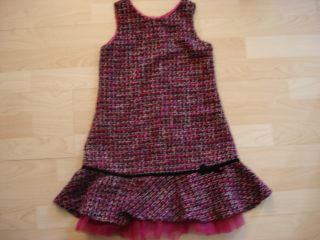 Biscotti Girls 6 Black Pink Silver Tweed Jumper Dress Holiday Tulle