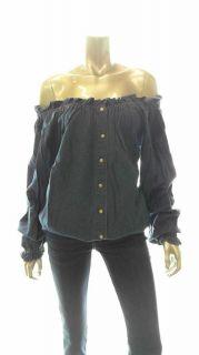 Bill Blass Misses M Stretch Long Sleeve Poet Top Blue Denim Shirt