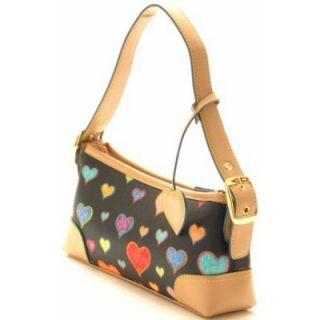 Designer Inspired Hearts Purse Handbag Hand Blag Black