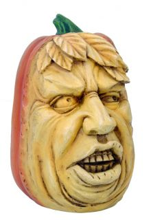 BIZARRE PUMPKIN HEAD MONSTROUS FACE STATUE.SCARY WACKY HALLOWEEN DECOR