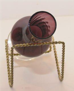 Purple Amethyst Art Glass BLENKO ? bud vase with clear stem and base