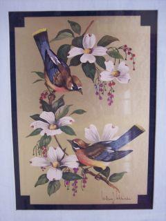 William J Whiteside Framed Birds Dogwood Flower Print