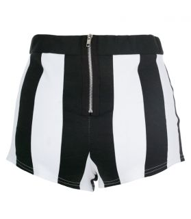 New Womens Ladies Black White Vertical Striped Shorts Hot Pants Size 8