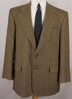 46 R Bill Blass BROWN HERRINGBONE CAMEL HAIR sport coat jacket suit