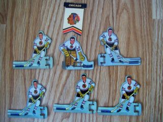 1960s Table Top Hockey Players 6 Chicago Black Hawk Eagle Munro Games