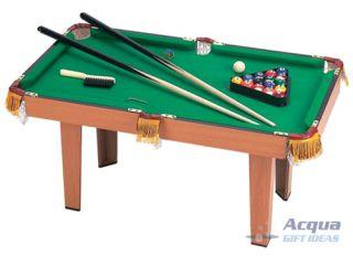 Mini Pool Table Billiards Games w Balls Sticks Brush Rack