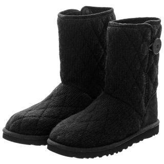 Auth Womens UGG Australia Black Mountain Quilted Short Boots 3176 Size