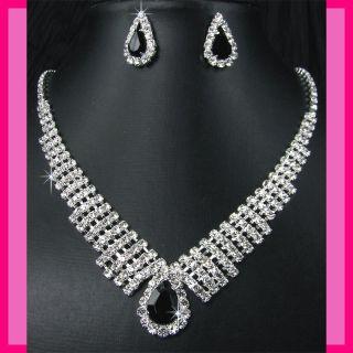 Bridesmaids Diamante Black Crystal Necklace Earrings Set Prom 37