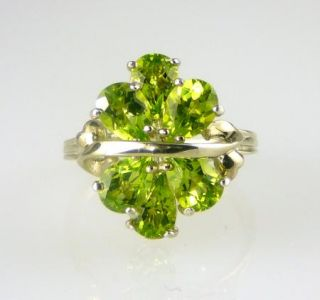 Natural Genuine Pear Shape Peridot Cluster Ring 925 SS Sterling Silver