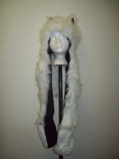 WHITE BLACK PLUSH ANIMAL HOOD WOLF HAT WITH SCARF MITTENS FAKE FUR