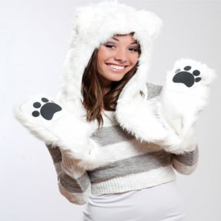 Faux Fur Plush 3D Full Animal Hood with Pocket Hat Scarf Mitten Polar