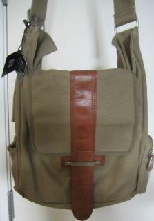 Brand New Block Headwear Crossbody Bag Olive Canvas Leather Mens