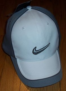 NWT UNISEX NIKE GOLF DRI FIT ATHLETIC FITNESS BALL CAP HAT WHITE GRAY