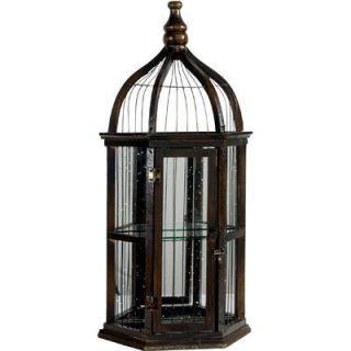 Decorative Bird Cage w Mirror Wall Decor 26H 32124