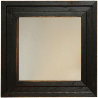 Primitive Framed Distressed Black Wood Mirror 13 5 Inch