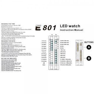 New Fashion Binary Clock Stainless Steel LED Wrist Watch Unisex