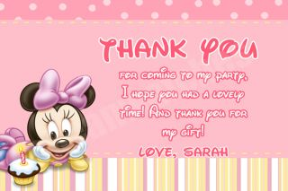 Disney Mickey Minnie Clubhouse Birthday Thank You Note Cards
