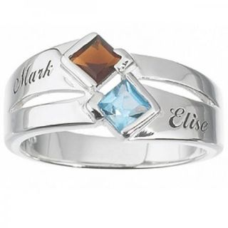 Sterling Silver Square Couples Birthstone Name Ring